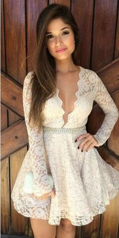 Cheap Deep V Hollow Long Sleeve Lace Dress For Big Sale!Deep V Hollow Long Sleeve Lace Dress, made of lace fabric, deep V neck design very sexy and sweet. White Homecoming Dresses Short, Formal Dresses For Teens, Short Dresses, Prom Dresses, Short Prom, Dresses 2016, Dress Formal, Dress Casual, Club Dresses