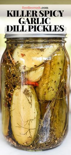 A healthy dose of fresh, peeled garlic cloves, a homemade pickling spice, and hot peppers give these spicy pickles a seriously delicious kick. Garlic Dill Pickles, Pickled Garlic, Kosher Pickles, Spicy Pickle Recipes, Pickling Spice Recipe For Dill Pickles, Easy Dill Pickle Recipe, Hot Pepper Recipes, Jalapeno Dill Pickles Recipe, Canning Spicy Pickles
