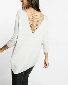 marled lace-up back circle hem sweater