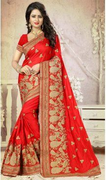 Party Wear Sarees Online, Party Sarees, Color Art, Red Color, Saris, Exclusive Collection, Saree Wedding, Looking Gorgeous, Embroidery