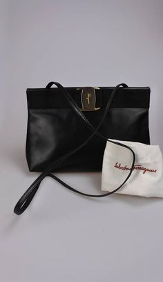 98ee2deb37f6 SALVATORE FERRAGAMO Vintage Black Shoulder   Crossbody Bag   Clutch