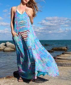 Aqua & Red Watercolor Maxi Dress