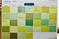 Home craft DIY Paint chips behind a frame = dry erase calendar. I love the picture frame turn into dry erase board ideas! Paint Chip Calendar, Dry Erase Calendar, Diy Calendar, Workout Calendar, Paint Samples, Tips & Tricks, Paint Chips, Crafty Craft, Pallets