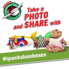 Share your love of packing shoeboxes and encourage others to get involved by sharing a photo of yourself with your shoebox using the hashtag #ipackshoeboxes: