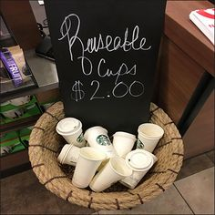 If sustainability is your thing, Starbucks is your coffee house. Here is one of their ongoing solutions see as Starbucks Resusable Cups By The Basket. Coffee Cup Holder, Cup Holders, Coffee Cups, Starbucks, Wicker, Basket, Retail, Store, Things To Sell