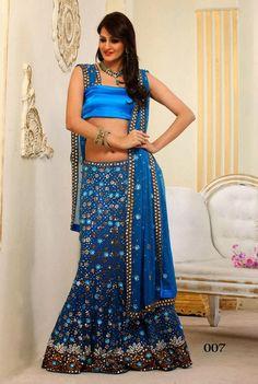 Royal Blue Designer Bridal Lehenga Choli | Saris and Things