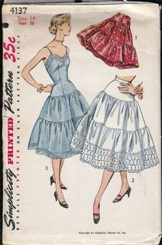 "Vintage 1950s Full Slip and Petticoat Simplicity 4137 bust 32"" | PenelopeRose - Supplies on ArtFire $16"