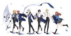 Cute Manga Girl, Rainbow Light, Ensemble Stars, Cute Drawings, Cute Couples, Anime, Knights, Happy, Beautiful Drawings