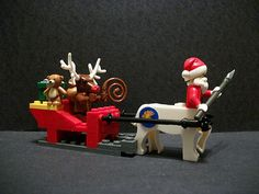 "I've really been enjoying Silver Fox57 Christmas themed builds. And here's another that I wanted to share with everyone. He ""Brings presents to all the good little colts and fillies"". I just think it's really awesome that Rudolph is in the sleigh and Santa is the one flying. Awesome build! And I love the painted nose on the Minotaur Head to transform the reindeer into Rudolph! #Lego #minifigures #BrickWarriors #Santa #Rudolph #Christmas"
