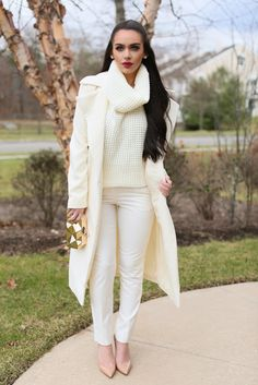 ecstasymodels:  Cream Sweater: ShopAkira | Trousers: last year Asos  Cream Coat:  | Lipstick: NEW Mac X Nasty Gal Stunner  Nude Christian Louboutin Patent Decollete Pumps  Carli Bybel
