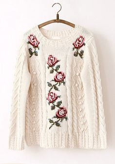 Beige Floral Appliques Round Neck Thick Acrylic Sweater