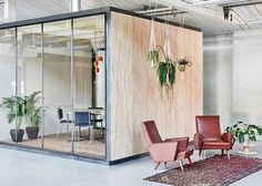 Fairphone's Amsterdam offices feature rubberwood seating