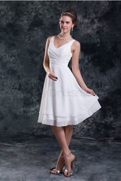 A-line V-neck Pleat Knee-length Bilayer Chiffon Wedding Dress