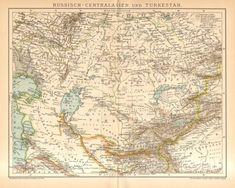 1895 Original Antique Map of Central Asia