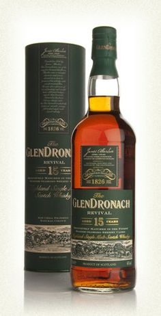 GlenDronach 15 Year Old Revival This 15 year old Glendronach marks the release of whisky under new distillery ownership. Matured in Oloroso sherry casks, this was awarded a Silver Medal at the 2009 Malt Maniacs Awards. (£40.23)