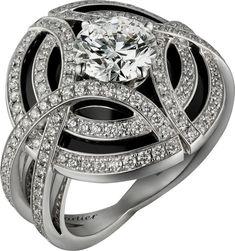 Galanterie de Cartier ring in white gold black lacquer diamonds