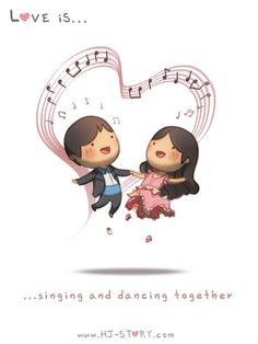 Image via We Heart It #amor #animacion #caricatura #cartoon #cute #dancing #dibujo #frase #is #love #loveis #music #singing #together #amar #hj #lovedancing #hjstory #divertirse