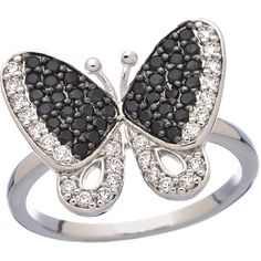 JG Max and Chloe CZ Butterfly Ring (€37) ❤ liked on Polyvore featuring jewelry, rings, accessories, butterflies, cz rings, cubic zirconia jewelry, zirconia jewelry, cz jewelry und butterfly ring