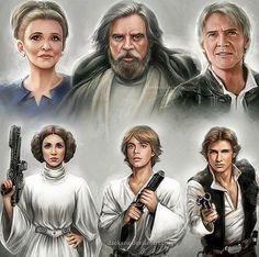Leía, Luke, and Han young vs old