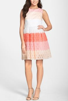 Lovely pink multi striped fit & flare dress.