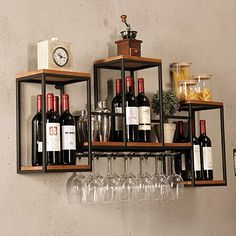 Industrial Wall Mounted Loft Retro Iron Metal Wine Rack Shelf Best Picture For DIY Wine Rack lattice For Your Taste You are looking for something, and it is going to tell you exactly what you are look Wine Rack Shelf, Wine Shelves, Wood Wine Racks, Wine Rack Wall, Floating Shelves, Diy Wine Racks, Iron Wine Rack, Wine Wall Decor, Wine Bottle Wall