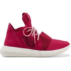 Adidas Originals Tubular Defiant neoprene and suede sneakers (1.469.270 IDR) ❤ liked on Polyvore featuring shoes, sneakers, red, lightweight sneakers, lace up shoes, red sneakers, neoprene shoes and adidas originals sneakers