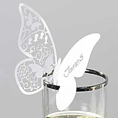 50 Butterfly Paper Place Card / Escort Card / Wine Glass by lisasu, $22.00