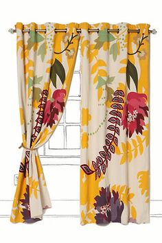 Loving yellows and funky florals these days.  These are a step up from my Ikea curtains.  Swoon.