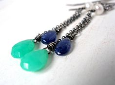 Hey, I found this really awesome Etsy listing at https://www.etsy.com/listing/157476919/sapphire-earrings-with-chrysoprase-and