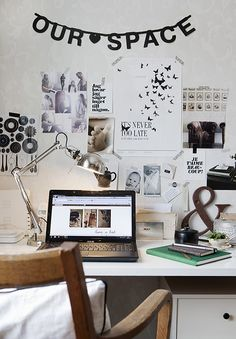 inspiration wall in a home office
