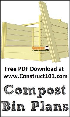 Compost bin plans. Free PDF download, material list, drawings, and measurements. Raised Garden Beds, Raised Beds, Garden Compost, Gardening, Rain Barrels, Woodworking Tips, Garden Planning, Tack, Dyi