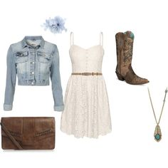 Country style - light cream lace dress with denim jacket and boots. Cute Fashion, Girl Fashion, Fashion Outfits, Womens Fashion, Dress With Jean Jacket, Dress With Boots, Country Outfits, Country Style, Passion For Fashion