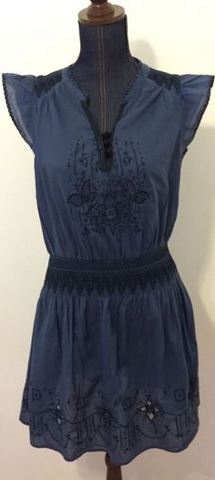Free People Embroidered Bohemian Hippie Boho Blue Black Dress Size Medium 66170 #FreePeople #Dress