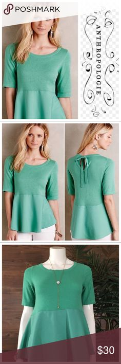 Moth Sweater Blouse Beautiful mint green sweater Blouse, top half features knit material, and bottom half is polyester blend. Anthropologie Tops Blouses