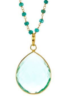 Beaded Teardrop Aqua Quartz Pendant Necklace by Forever Creations USA Inc. on @HauteLook