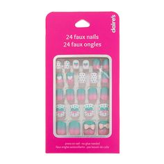 Pink and Mint Green Polka Dot, Heart and Bow Faux Nails Cute Acrylic Nails, Cute Nails, Lynn Nails, Good Drugstore Bronzer, Fake Nails For Kids, Justice Makeup, Teen Jewelry, Fashion Jewelry, Makeup Kit For Kids