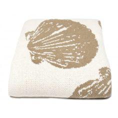 Khaki and White Scallop Shell Eco-Throws.