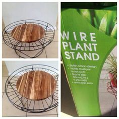 Wire plant stand with a cheese board added on top