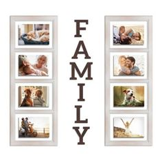 """Wallverbs Family Picture Frame Set White Washed - Create a charming gallery of memories with the Family Picture Frame Set from Wallverbs. It includes 2 windowpane-style collage frames, each holding 4 photos, plus 6 letters that spell out """"family."""