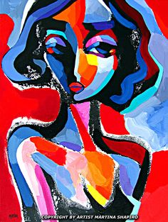 Female Portrait In Red abstract original painting by artist Martina Shapiro, contemporary female fine art