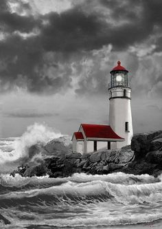 Stormy Sea Painting - Oregon Lighthouse Cape Blanco In Black White And Red by Regina Femrite Color Splash, Color Pop, Colour, Lighthouse Painting, Lighthouse Bathroom, Lighthouse Pictures, Stormy Sea, Beacon Of Light, Cross Paintings