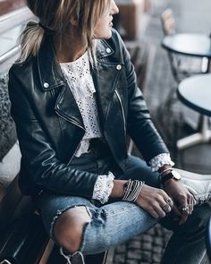 Blue  Blue leather jacket and cute blouse!  #ootd #denim #blue