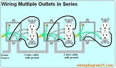 wiring diagram receptacles in series electric rh pinterest com Wiring GFCI Outlets in Series Wiring GFCI Outlets in Series