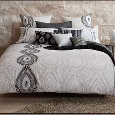 This lovely duvet cover features a modernized ethnic design with a subtle grey tonal scheme, creating a unique look for your bedroom. Bold accent colors and embellishment techniques add to the stylish design. Bedding And Bath, House Design, Duvet Sets, King Duvet Cover Sets, Home, Bedroom Design, Duvet, Bedroom Inspirations, Bed Bath And Beyond