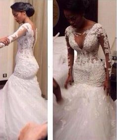2016 Sexy South Africa Long Sleeves Lace Mermaid Wedding Dresses