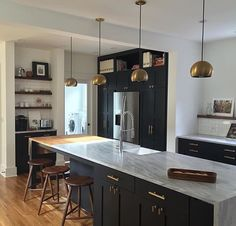 Love this Kitchen! Lights from Schoolyard. Cabinets in Railings by Farrow and Ball.