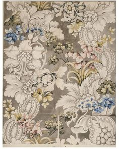 Design for a woven silk made by Anna Maria Garthwaite, Spitalfields, Museum Number Textile Pattern Design, Textile Patterns, Textile Prints, Pattern Art, Floral Prints, Print Patterns, Vintage Textiles, Vintage Patterns, Anna Maria Garthwaite