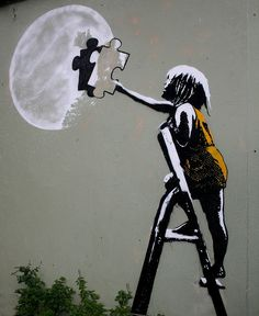 """Moon street art streetart wall art kids """"With one piece missing, the whole thing's broken"""". by grafter_pics 3d Street Art, Amazing Street Art, Street Art Graffiti, Street Artists, Amazing Art, Graffiti Wall, Awesome, Urbane Kunst, Stencil Art"""