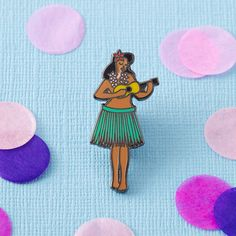 Hula Girl Enamel Pin with clutch back // lapel pins, tropical, hawaiian // EP090