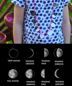 Moon Phase Necklace--Making a moon phase necklace (out of shrink plastic) is a great way to learn the eight key lunar phases.